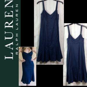 Lauren Ralph Lauren linen dress women's 6 navy